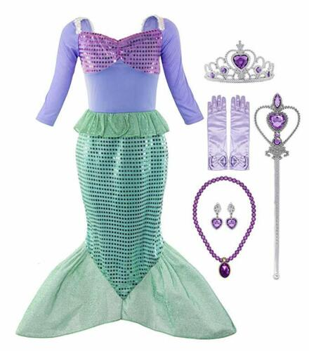 Mermaid Fairy Tales Costume Cosplay Fancy Party Outfit Dress Up with Accessories