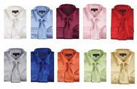 Men's Fashion Shiny Satin Dress Shirt With Tie And Handkerchief 10 Colors 1520