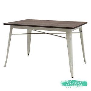 Tavolo Legno Bianco Anticato.Dettagli Su Tavolo Moderno Rettangolare Piano Legno Bianco Anticato Spedizione Gratuita
