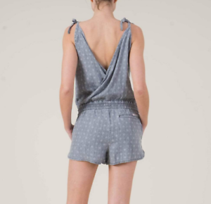 bd347efe323b Image is loading Level-99-Cassie-Printed-Chambray-Romper-Shorts-Lyocell-