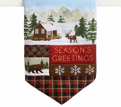 "Holiday Table Runner Seasons Greetings Cabin Bear 13"" X 36"""