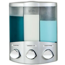 Aviva Trio III Triple chamber Satin Soap Shampoo gel Bathroom Shower Dispenser