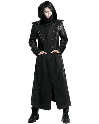 Punk Rave Black Dragon Mens Coat Long Jacket Gothic Steampunk Hooded Trench