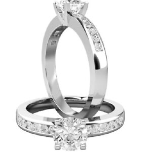 0.74 Ct Round Cut Moissanite Anniversary Ring 14K Solid White Gold ring Size 5 6