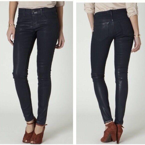 J Brand Women's Coated Stretch Leggings Glory Indigo Dark Wash Jeans Size 27 EUC