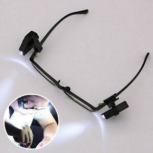 Super Cool LED Light Clip On Glasses Torch / Lamp Safety Glasses Reading  Gift