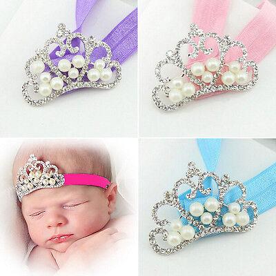 1Pc Sweet Newborn Baby Girls Pearl Crown Headband Hair Band Hair Accessories