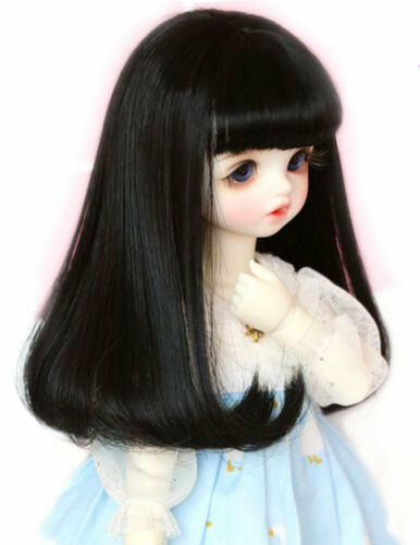 "1//3 8-9-10/"" Bjd Pullip Doll Long Wig Hair Neat Bangs Roll Tips Straight Black Cn"