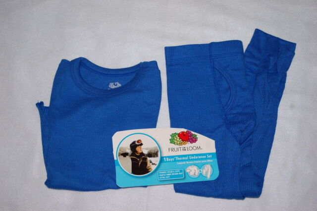 Fruit of the Loom Boy/'s Thermal Underwear Set  Blue Shirt /& Pants Free Shipping