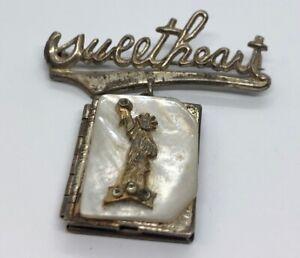 Vintage-Sterling-Silver-Brooch-Pin-925-Sweetheart-Locket-Dangle-Statue-Liberty