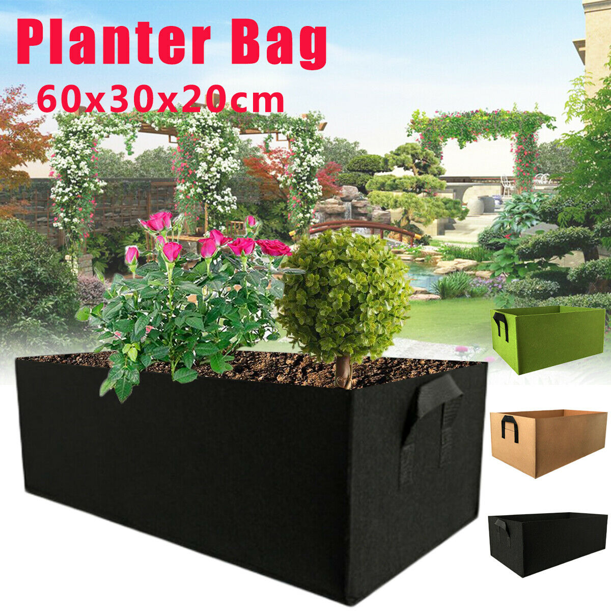 Large Fabric Pots Fruits L, Black KERMAT Garden Growing Bags Square Planting Container for Indoor Garden Planter Pot for Plants Vegetables Tomato Plant Bags with Handles