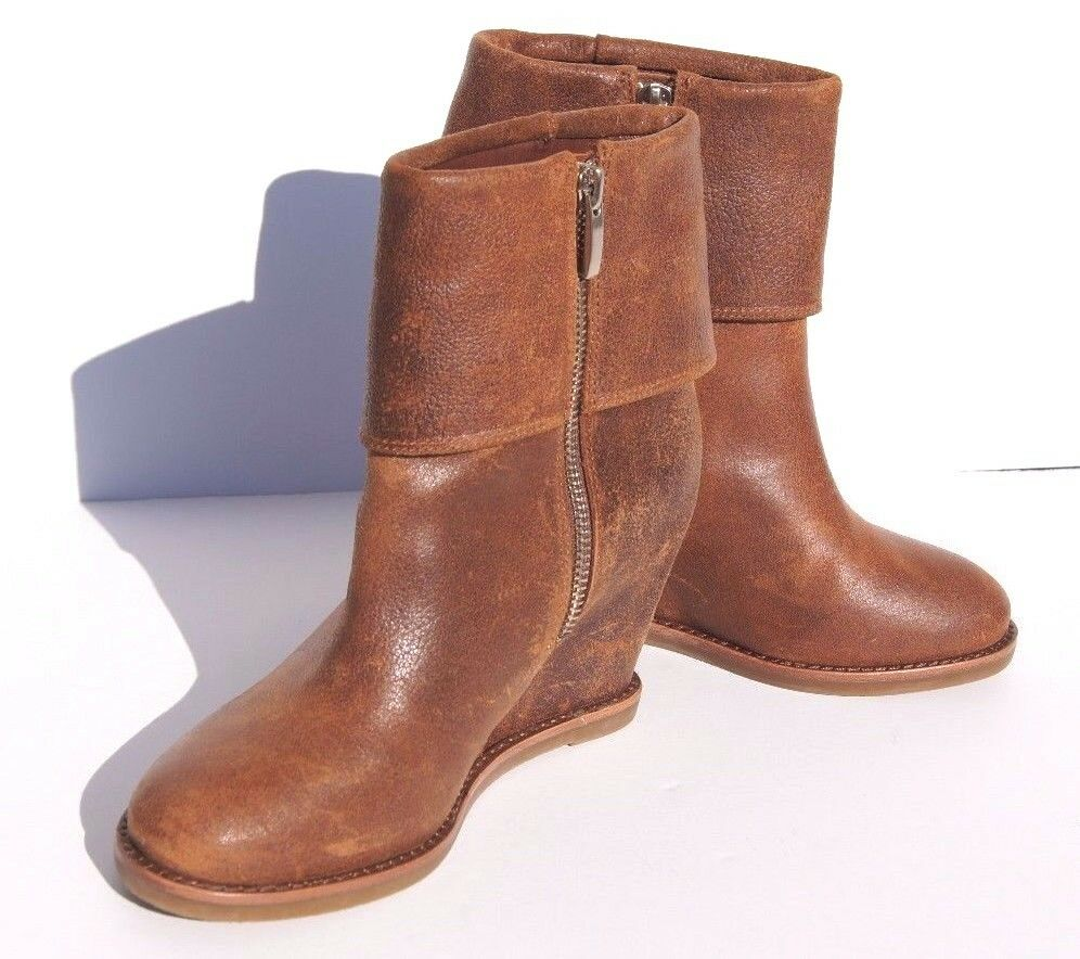 Johnston and Murphy Brynn Cuff Leather Women's Brown Bootie Wedge Heel Size 6