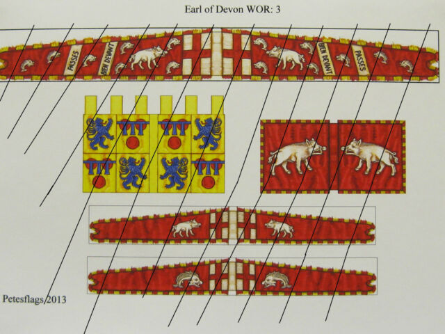28mm Medieval Wars of the Roses Flags Lacastrian Earl of Devon WOR 3