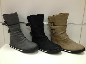 Filles-chaussures-bottes-bottines-neuf-noir-gris-taupe-7749-A19