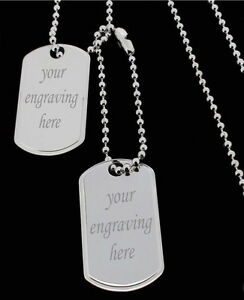 Sterling silver army style double dog tag pendant amp 18 20 22 24 034