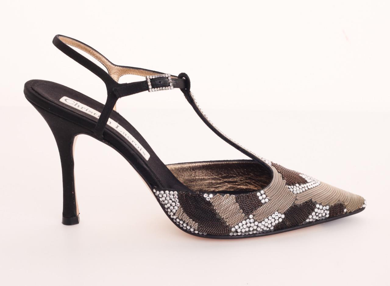 Christian Lacroix Chaîne & satin Jeweled Talon Haut T-Strap Pump Sandale Chaussure 10-40