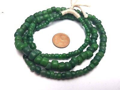 Strang antik grüne Lampwork oliven Glas Perlen