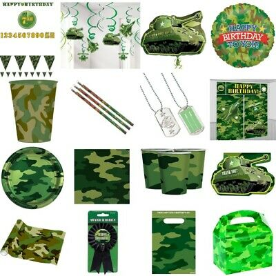 Party Banner Bunting Army Tank Green Camouflage Personalised Children/'s