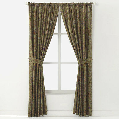 Chaps Beekman Place Paisley Green Brown Blue Pair Of 84 Cotton Curtain Panels Ebay