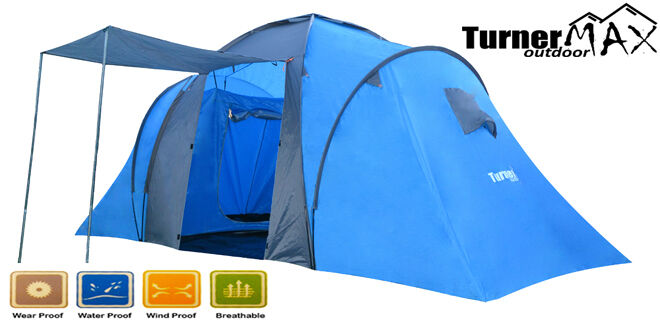TurnerMAX Outdoor 4 6 Person Two Large Bedroom Family Camping Hiking New Tent