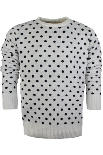 Mens Jumper by Brave Soul /'Polka/' Crew Neck Sweater Knitted Pullover Sizes L-XL