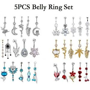 14G-Unique-Dangle-Belly-Button-Ring-Lot-Body-Piercing-Navel-Barbell-Jewelry