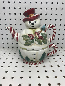 """Tracy Porter Tea For One 3 Piece Cup with Teapot Lid """"Jolly Ol' Snowy"""" Christmas"""