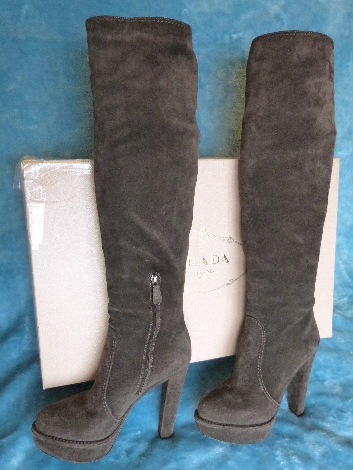 Prada Prada Prada Marrón Suede sobre la rodilla botas talla 40  Web oficial