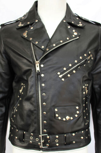 Classic Men's Leather Brando Studded Cowhide Motorcycle Real Biker Jacket Black vqnRP6wt