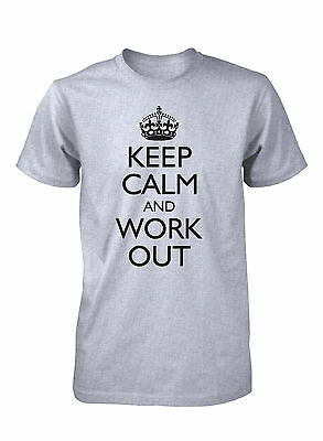 Men's Keep Calm and Work Out Funny T-Shirt Gym Workout Sports Fitness Tee