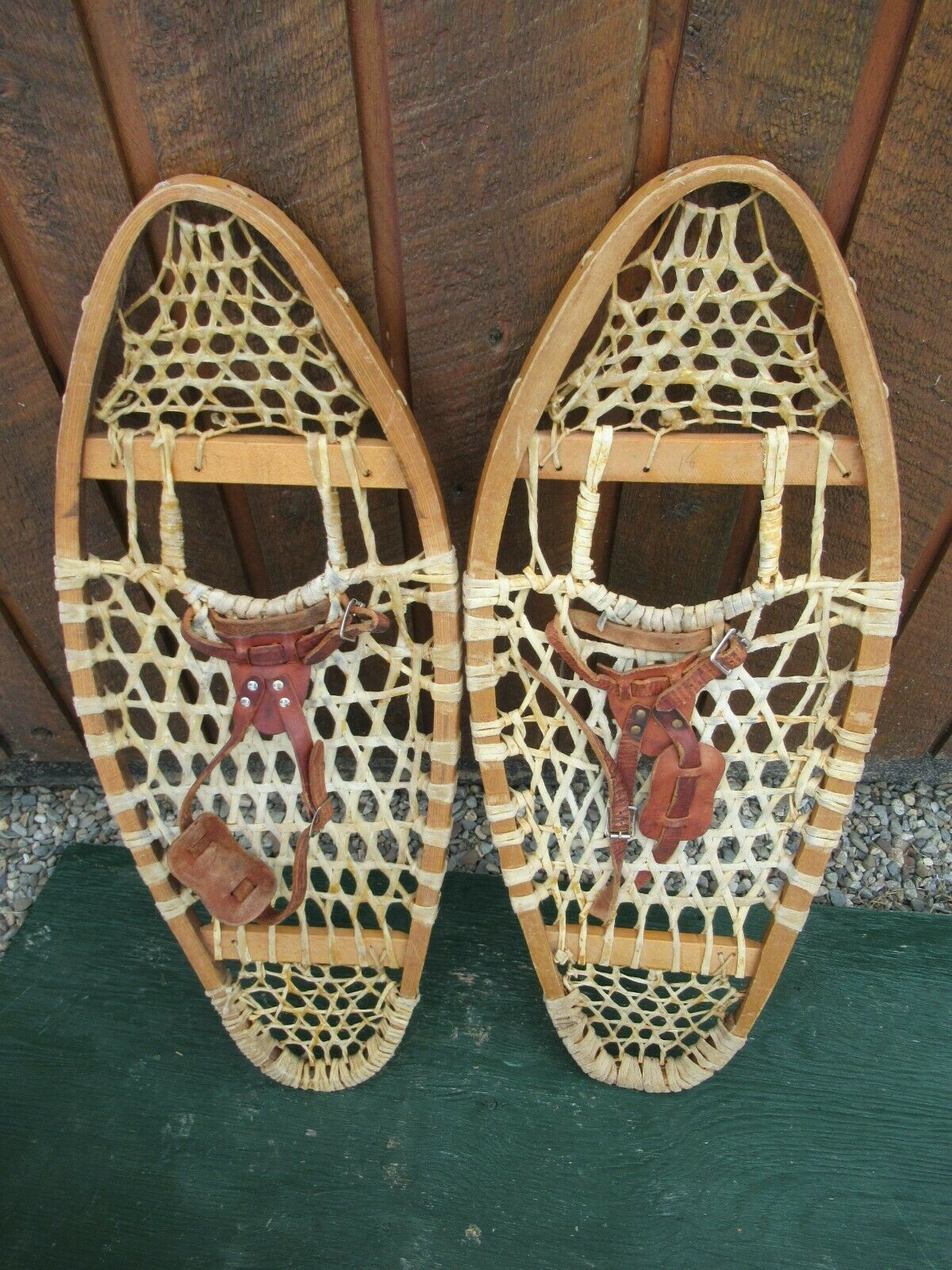 GREAT Snowshoes 30  Long x 12  Wide with  Leather Binding Ready to Use  cheapest