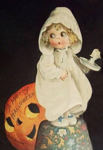 Halloween Jack O Lantern Little Girl with Candle