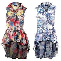 Ladies Chiffon Collared Rose Blouse Floral Fishtail Sleeveless Shirt Top 8-14