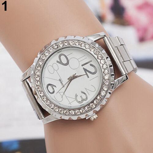 Couple Women Men's Crystal Rhinestones Stainless Steel Analog Quartz Wrist Watch
