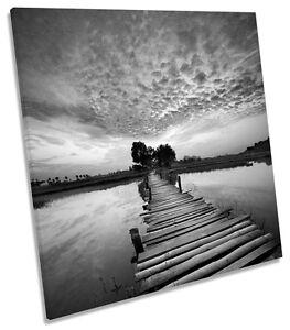 Tropical-Sunset-Bridge-River-B-amp-W-CANVAS-WALL-ART-SQUARE-Picture-Print