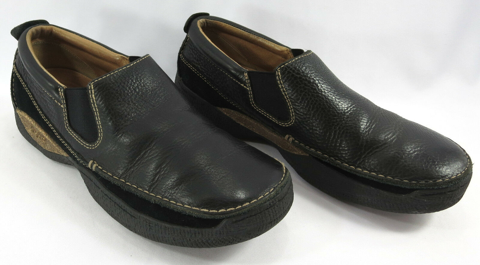 Rogue Mens Shoes 12 US 11.5 Black Leather Suede Loafers Slip Ons Shoes