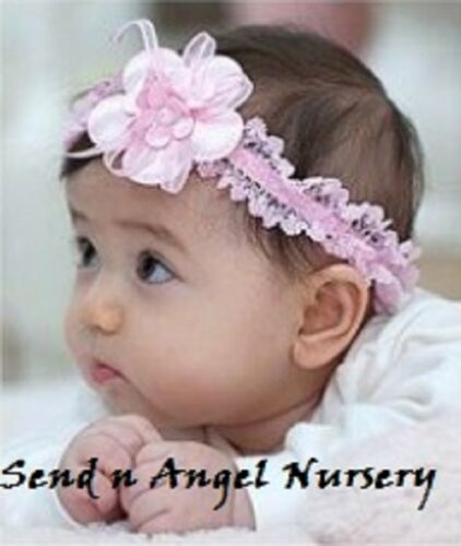 Vintage Style pink lace stretch Headband with flower for Reborn Doll/Newborn