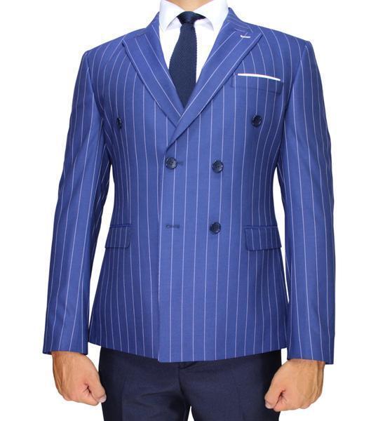 Blue Stripe Double Breasted Semi Slim Fit Blazer