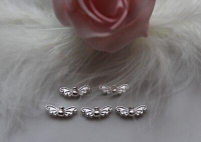 3 Metallperlen Flügel Schmetterllingsflügel 2,2cm silber 1051