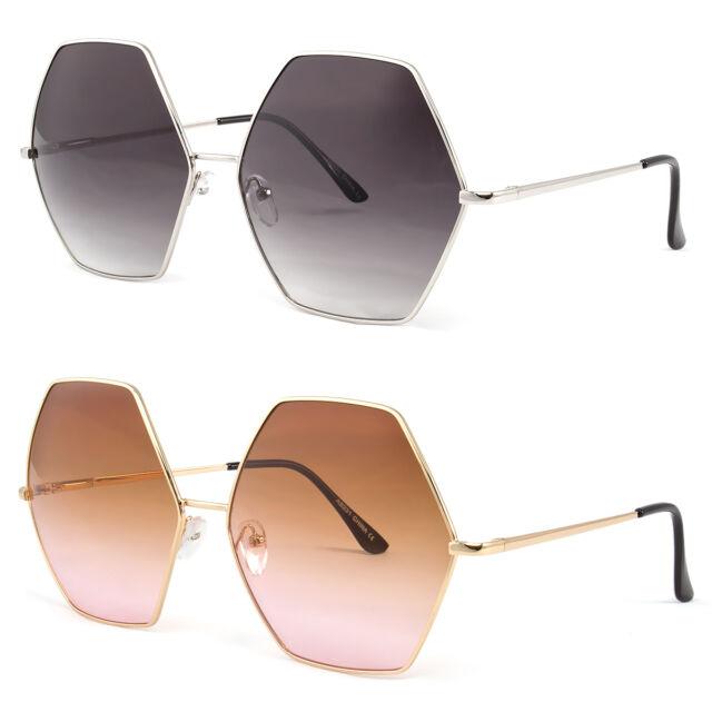 New Oversized Metal Rim Large Vintage Retro Square Lenses Women Sunglasses Gold