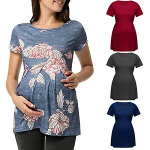 Women-Pregnancy-Summer-Casual-Tee-Shirt-Tunic-Short-Sleeve-Tops-Maternity-Blouse