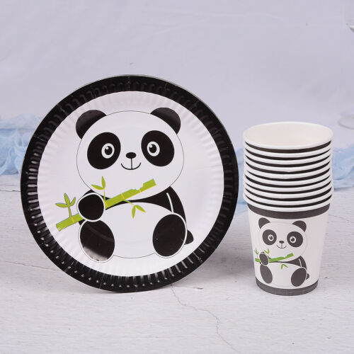 10pcs Panda theme paper plates disposable paper cups kids birthday party deco GZ