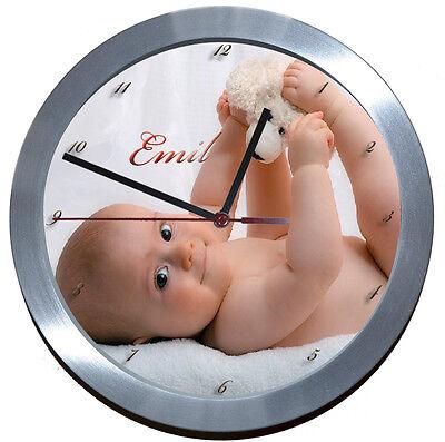 **LAUTLOS**ALU >FUNKUHR< WANDUHR FOTO UHR BILDERUHR Geburt - Taufe - Baby - Kind