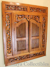 Vintage Wood Hand Carved Wall Mirror With Shutter Doors Floral Border Rustic