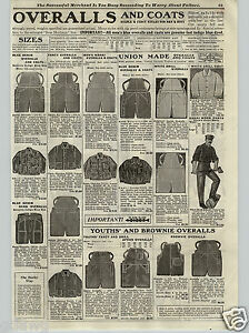 Denim Made Union Overalls 1917 Blue PAPER Work Jeans AD Coats qx8tS0