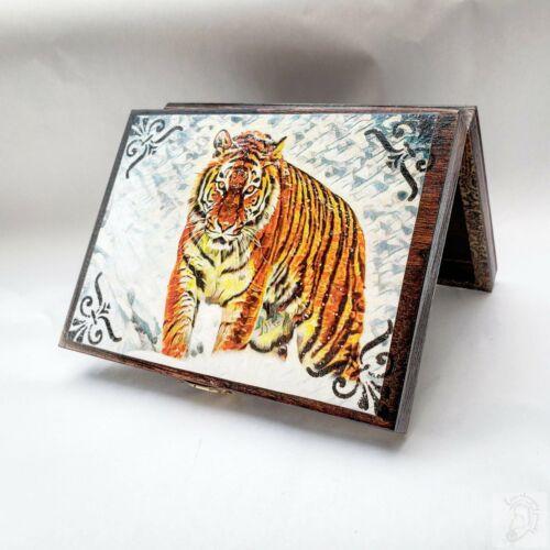 Vintage Wild Tiger Jewelry Box with Mirror