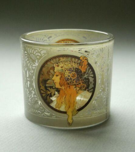 "1897 MUSEUMS TEELICHTGLAS La Blonde Teelichthalter NEU! /"" /""Alphonse Mucha"