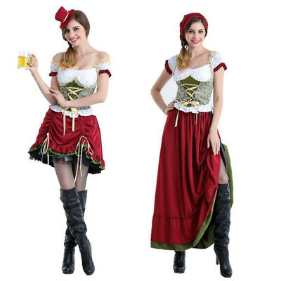 Womens Oktoberfest Costume German Bavarian Beer Maid Dirndl Fancy Dress Cosplay