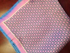 "WINDOM FINERY US NEW ~14"" 100% SILK POCKET SQUARE HAND ROLLED PINK BLUE"