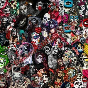 sugar skull decal mexican spanish day dead stickers bomb sheet vinyl